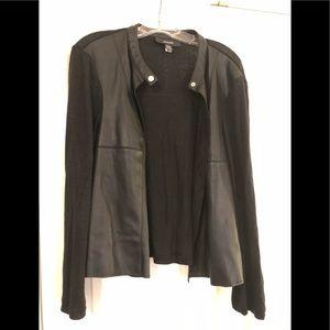 Alfani Black Cardigan with leather like detail, L
